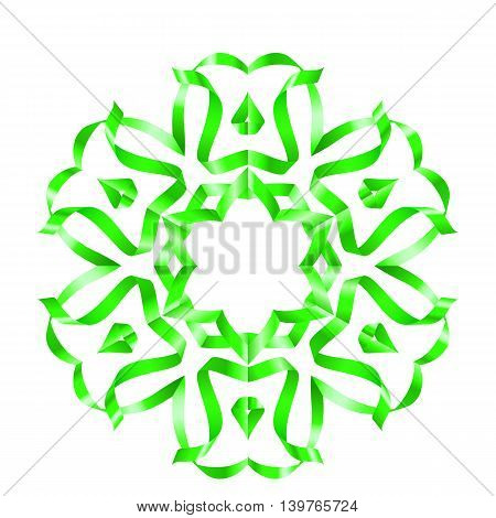 Green flower with six petal of swirled ribbons on white background