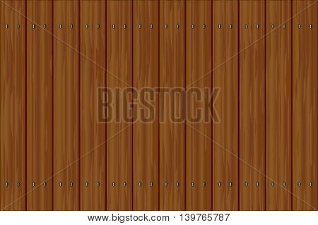 A fence made of dark stained wood planks