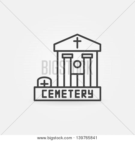 Cemetery building icon - vector simple linear symbol. Graveyard sign thin line style