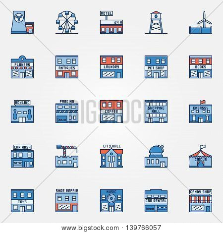 Colorful town building icons - vector set of flat urban buildings. Shops symbols or logo elements