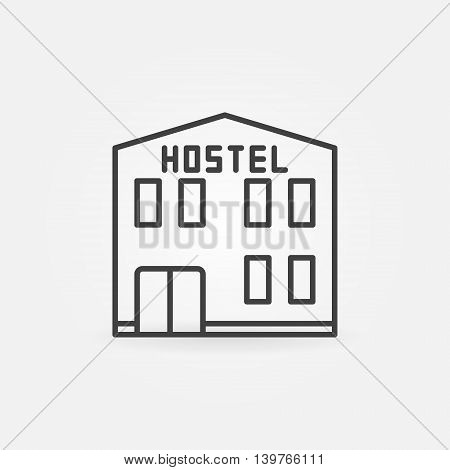 Hostel building icon - vector thin line city hostel hotel sign or symbol