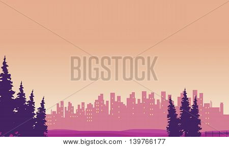 Landscape city and spruce silhouettes vector illustration