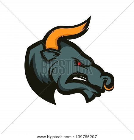 Bull sport mascot. Design element for logo label emblem sign badge. Vector illustration.