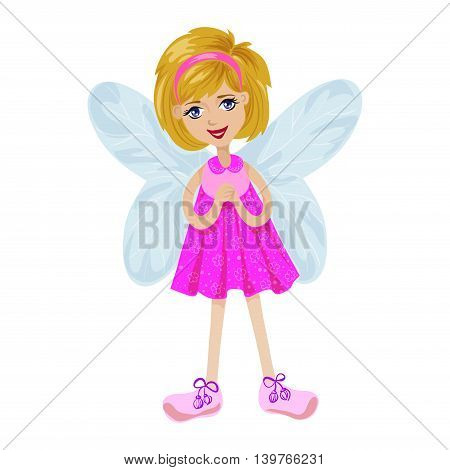 Fairy girl in a pink dress on a white background isolated vector illustration