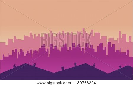 City and hills scenery at afternoon silhouettes illustration
