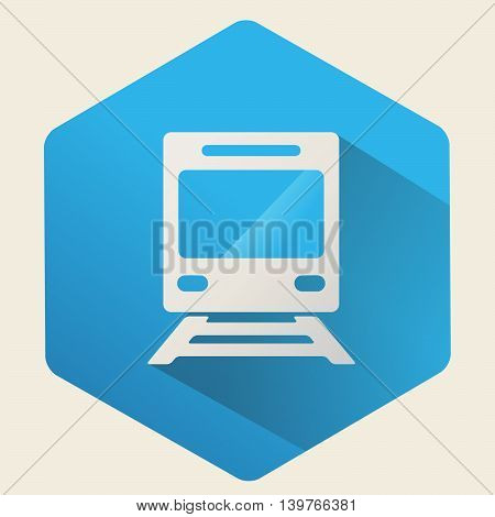 Vector icon of train on a blue background ,Flat design.
