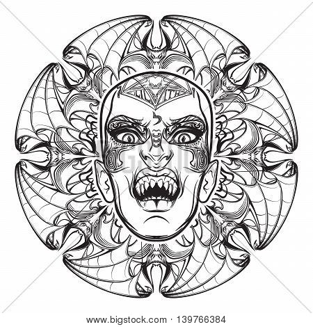Hand drawn sketchy artwork of scary aspect of Lilith Babylonian demon of night. Halloween concept. Alchemy, religion, spirituality, occultism, tattoo art. EPS10 vector illustration. Isolated on white.