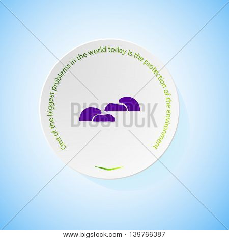 Environmental icons depicting mushroom with shadow, abstract vector illustration