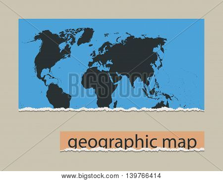 Geographic map and torn paper. Realistic image of the object