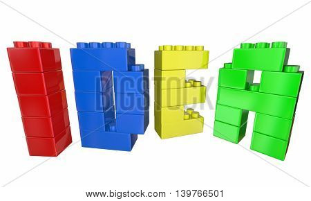 Idea Toy Blocks Building Letters Word 3d Illustration