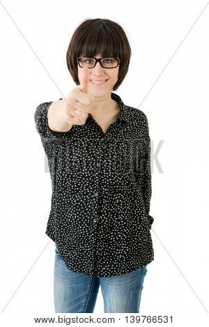 young happy beautiful woman going thumbs up, isolated in white