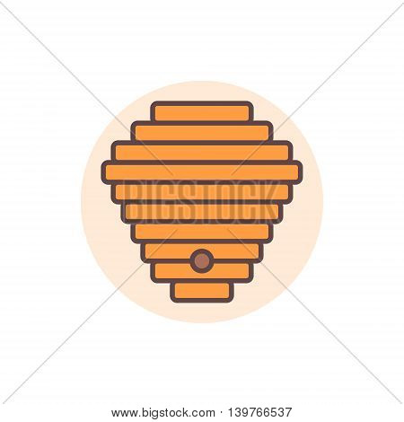 Beehive flat icon. Vector colorful bee hive concept symbol or logo element
