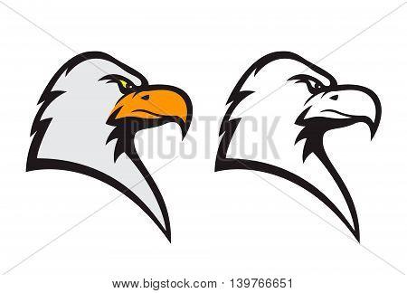 Eagle mascot. Sports team emblem template. Design element for logo label emblem sign. Vector illustration.