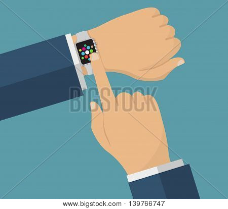 Human hand with smart watches. Operation with smart watches. Business theme illustration.