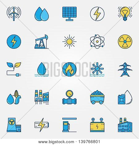 Industrial colorful icons. Vector set of power and energy symbols. Yellow and blue energy flat signs