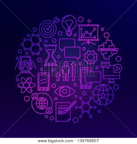 Innovation bright linear illustration. Vector round thin line innovative ideas symbol or concept sign on dark background