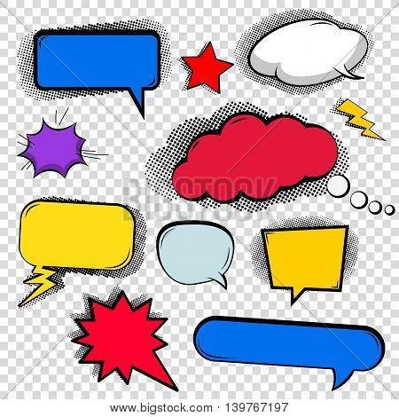 Set of bubbles cloud talk different shapes in comic style. Design elements in vector