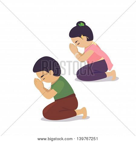 Man and lady are pray for respect.