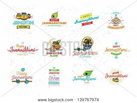 Happy Janmashtami festival typographic vector design with text, pots, Lord Krishna, flute, sweets and peacock feather. Isolated. Usable for banners, greeting cards, t-shirts, print. Indian holiday.