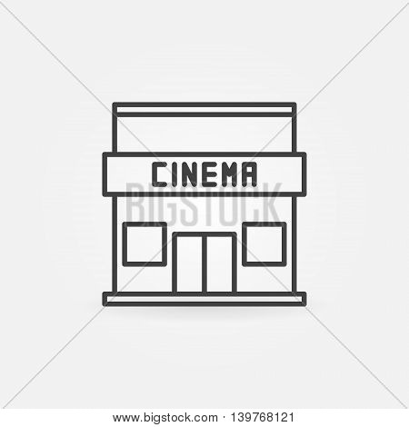 Cinema building icon - vector simple cinema house symbol or sign in thin line style