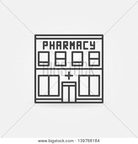 Pharmacy building icon - vector minimal sign in thin line style