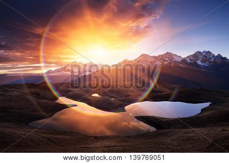 Mountain Lake. Morning landscape with a beautiful sunrise.  Art processing of photos