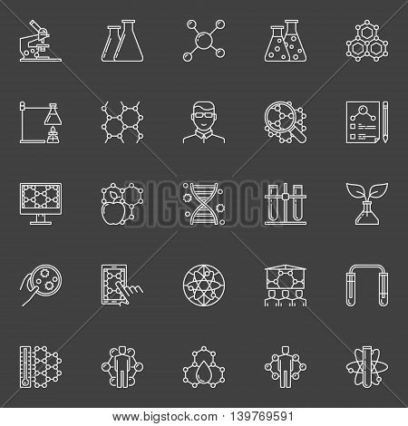 Bio technology linear icons. Vector set of molecular biology and biotechnology symbols. Thin line nanotechnology education signs on dark background