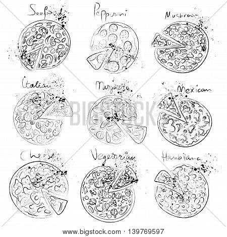 Pizza slice set - italian, mexican, margarita, cheese, pepperoni collection hand draw style isolated on white background