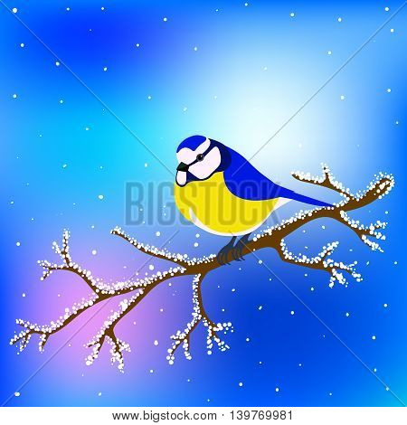 Tit sitting on a snowy branch tree. Vector