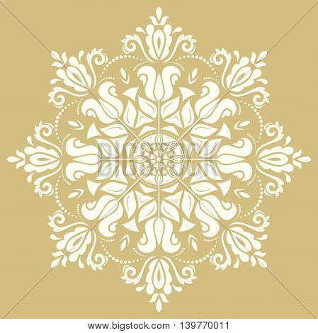 Oriental vector pattern with arabesques and floral elements. Traditional classic ornament. Golden and white pattern