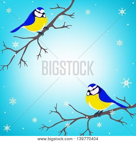 Two titmouse sitting on a tree branch