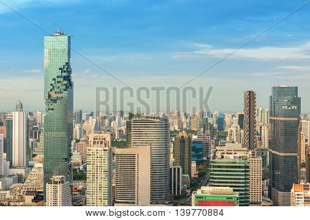 Bangkok City of Thailand on top view with blue skies background Downtown of Bangkok City.