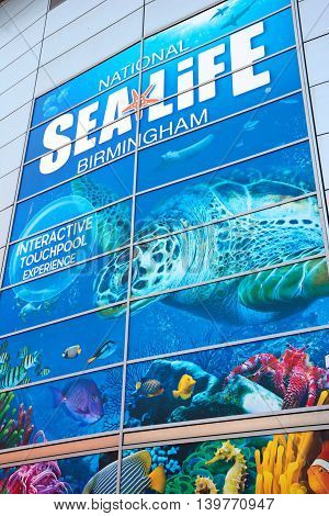 BIRMINGHAM, UNITED KINGDOM - JUNE 6, 2016 - Sign on the wall of the National Sea Life Centre Birmingham England UK Western Europe, June 6, 2016.