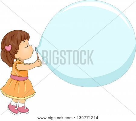 Illustration of a Little Girl Making a Giant Soap Bubble