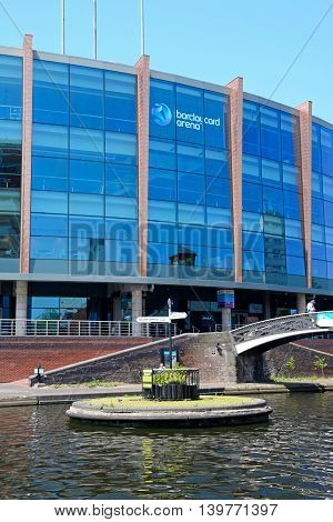 BIRMINGHAM, UNITED KINGDOM - JUNE 6, 2016 - View of the National Indoor Arena aka the Barclaycard Arena at Old Turn Junction Birmingham England UK Western Europel, June 6, 2016.