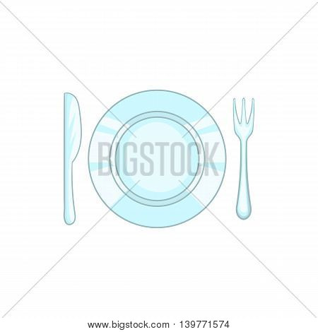 Plate with knife and fork icon in cartoon style isolated on white background. Dishes symbol