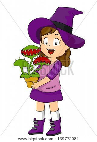 Illustration of a Little Girl in a Witch Costume Carrying a Pot of Venus Fly Trap