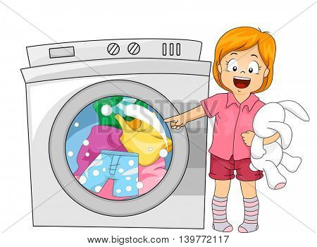 Illustration of a Little Girl Pointing to the Washing Machine