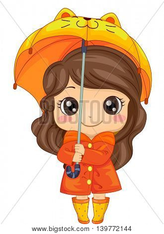 Illustration of a Cute Girl Wearing an Orange Raincoat