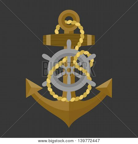 Vector anchor with rope and helm icon, flat design