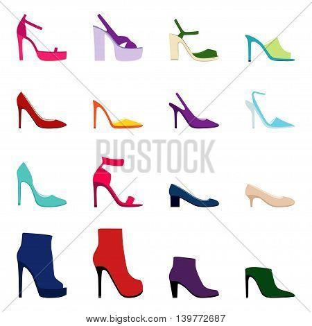 Set of women shoes on white background, vector illustration