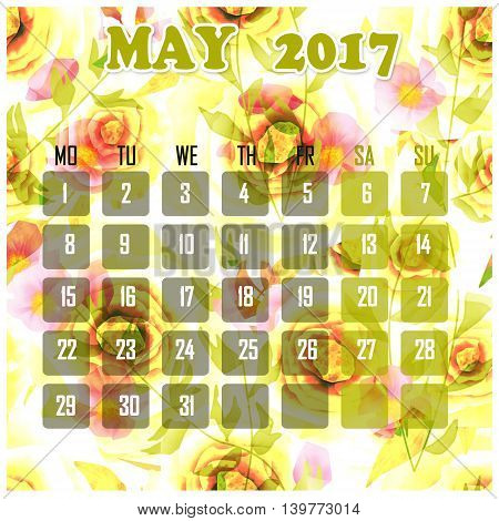 Floral 2017 calendar design for month may printable