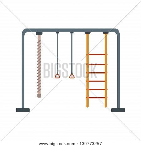Children Playground with swings. Place for children play in yard. Children Playground equipment drawn in flat style vector. Childrens Playground. Kids playground. Playground cartoon game landscape.