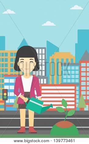 An asian young woman watering a tree on a city background. Eco-friendly woman takes care of the environment. Vector flat design illustration. Vertical layout.