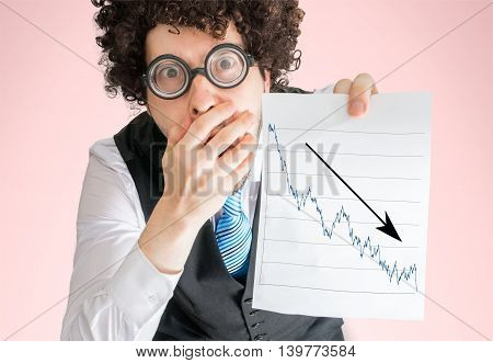 Disappointed Businessman Is Showing Chart Of Bad Investment And