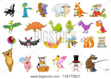 Set of cute colourful animals. Sheep drinking cocktail, kangaroo riding kick scooter, mouse eating apples, bear fishing, bee flying with honey bucket. Vector illustration isolated on white background.