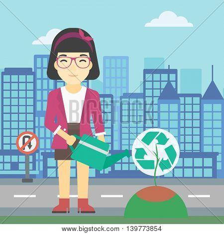 An asian young woman watering a tree with a recycle sign instead of crown on a city backround. Eco-friendly woman takes care of the environment. Vector flat design illustration. Square layout.