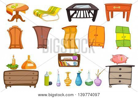 Furniture set with coffee table, chaise longue, chest of drawers, wardrobe, shelf and accessories for house - vase, candle, air freshener, piggy bank. Vector illustration isolated on white background.