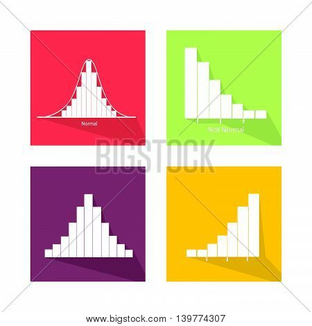 Flat Icons Illustration Set of 4 Gaussian Bell or Normal Distribution Curve and Not Normal Distribution Curve.
