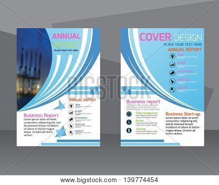 annual report brochure flyer design template. Leaflet colorful cover presentation abstract flat background layout in A4 size.